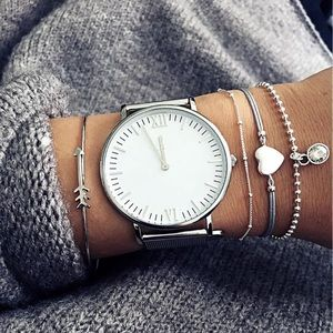 Stackable Silver And Gray Bracelets